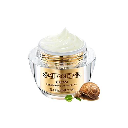 Крем для лица с 24к золотом и экстрактом улитки SeaNtree SeaNtree Snail Gold 24k Cream golden snail 72v60v