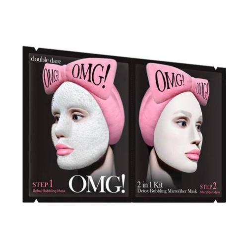 Маска двухкомпонентная для глубокого очищения и питания кожи Double Dare OMG! 2 In 1 Kit Detox Bubbling Microfiber Mask double dare omg маска четырехкомпонентная для ухода за кожей лица 4in1 kit zone system mask