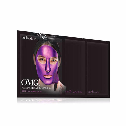 Маска трехкомпонентная для ухода за кожей лица фиолетовая Double Dare OMG! Platinum Purple Facial Mask Kit sleep with v artifact bandage bunch of mask tyra face firming facial thin double chin