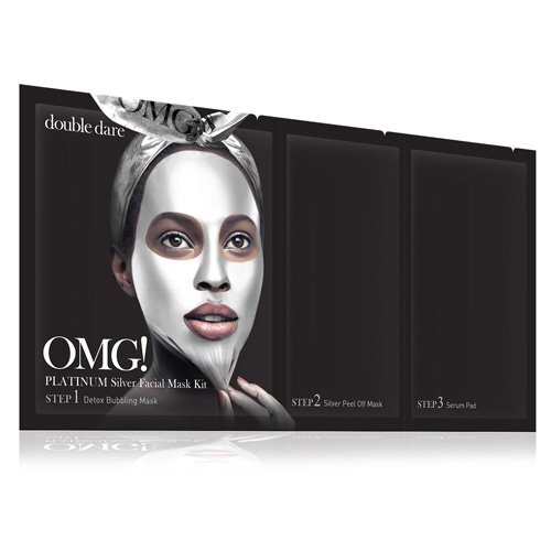 Маска трехкомпонентная для ухода за кожей лица серебряная Double Dare OMG! Platinum Silver Facial Mask Kit activated carbon double chemical gas respirator dust filter mask
