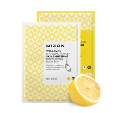 порошковая маска с угольной кислотой Mizon Vita Lemon Sparkling Powder