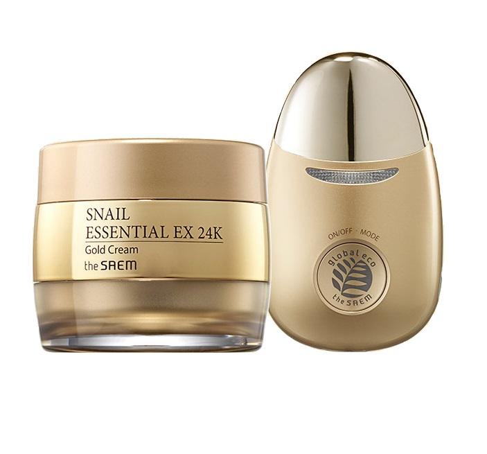 Премиальный улиточный крем с золотом and вибромассажер The Saem Snail Essential EX 24K Gold Cream Set кремы the saem крем антивозрастной snail essential ex wrinkle solution cream
