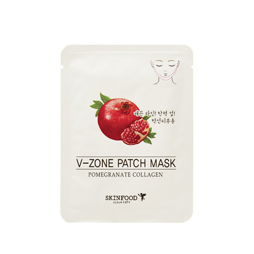 Подтягивающая тканевая маска для подбородка SKINFOOD Pomegranate Collagen V-Zone Patch Mask маска caolion pore blackhead eliminating t zone strip