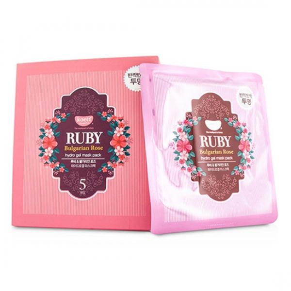 Гидрогелевая маска c розовым маслом и рубиновой пудрой Petitfee