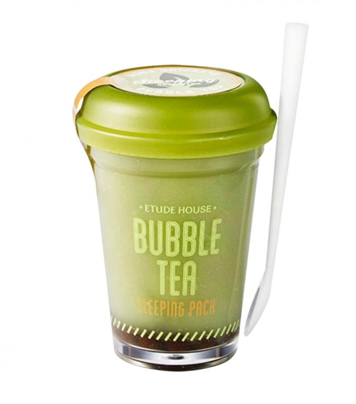 Ночная маска с экстрактом зеленого чая Etude House Bubble Tea Sleeping Pack Green Tea