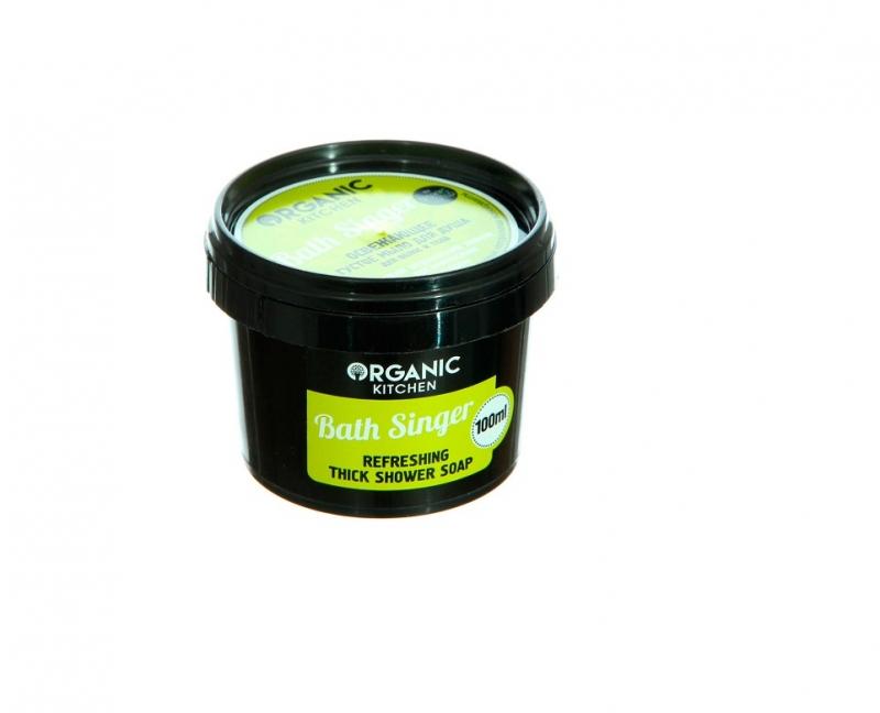 Мыло для увлажнения и питания кожи Organic Shop OS Мыло для душа освежающее густое Для волос и тела Bath Singer