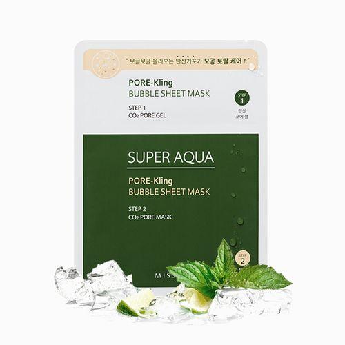 Двухступенчатая маска для проблемной кожи Missha Super Aqua Pore Kling Bubble Sheet Mask
