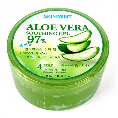 Увлажняющий гель для лица и тела с экстрактом алое SkinMint Aloe Vera Soothing Gel наматрасник aloe vera collection антистресс размер 120х200 см