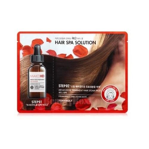 Лечебная маска для волос  тепловым эффектом Tony Moly Make HD Argan Rose Hair Pack