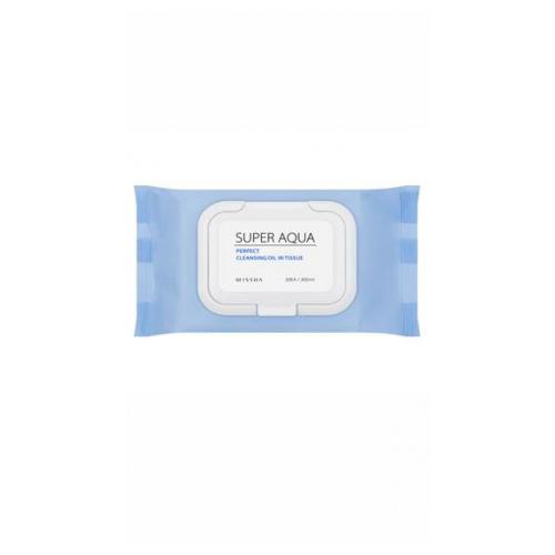 Очищающие салфетки для лица с маслом, 30 шт. Missha Super Aqua Perfect Cleansing Oil In Tissue очищающая 3 ступенчатая маска для носа missha super aqua mini pore 3step nose patch