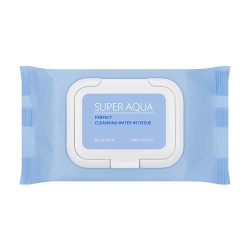 Набор очищающих салфеток для чувствительной кожи, 30 шт. Missha Super Aqua Perfect Cleansing Water In Tissue очищающая 3 ступенчатая маска для носа missha super aqua mini pore 3step nose patch