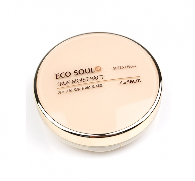 Увлажняющая компактная пудра для лица The Saem Eco Soul True Moisture Pact