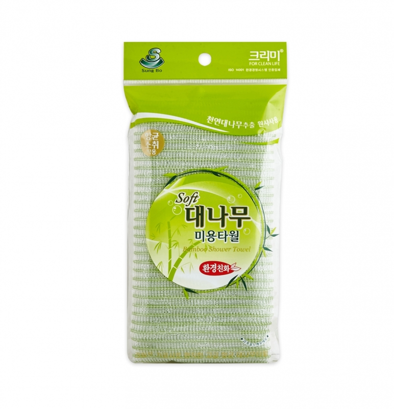 Мочалка с бамбуковым волокном Sungbo Cleamy Clean and Beauty Bamboo Shower Towel мягкая мочалка для тела sungbo cleamy clean and beauty natural shower towel 28x100