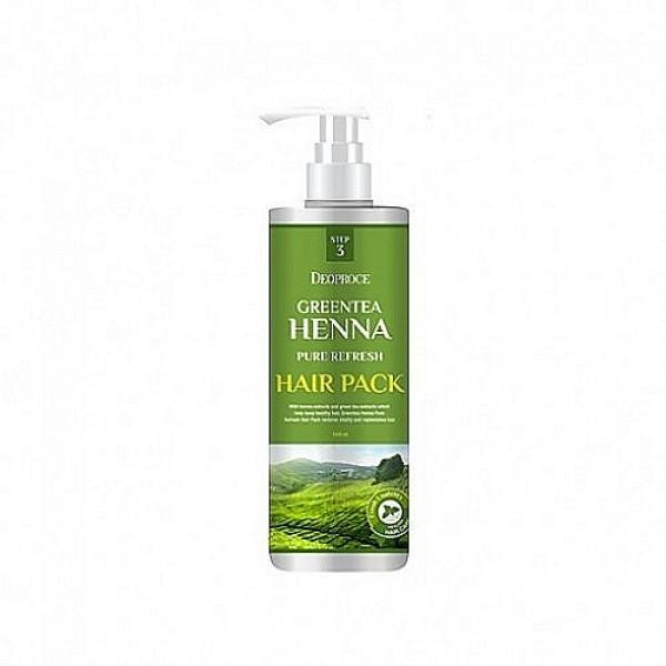 Восстанавливающая маска для волос с хной и зеленым чаем Deoproce Greentea Henna Pure Refresh Hair Pack