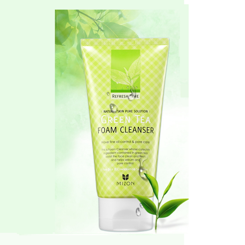 Пенка для умывания с зеленым чаем Mizon Refresh Time Green Tea Foam Cleanser