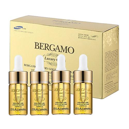 4 ампульных сыворотки с золотом и экстрактом икры Bergamo Luxury Gold Caviar Wrinkle Care Intense Repair Ampoule 4pcs